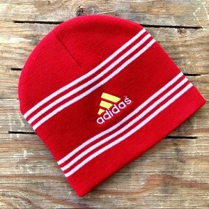 Adidas Red Knit Beanie Hat with White Stripes